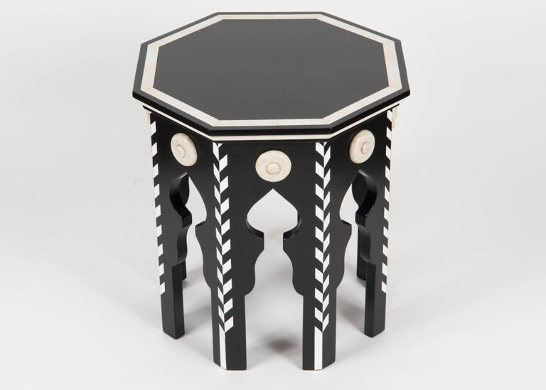 Modern Pasha Side Table with Faux Ivory For Sale