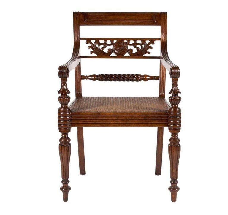 Martyn Lawrence Bullard's custom Colony chair. These types of chairs were used throughout Colonial India in the 19th century and have great presence today with finely carved back details and carved seats. They are available with and without arms.