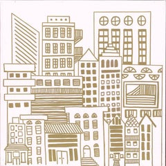 Doodle City Gold, Wallpaper from the Urban & Rural Collection