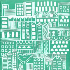 Doodle City Green, Wallpaper from the Urban & Rural Collection