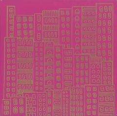 Doodle City Pink and Gold, Wallpaper from the Urban and Rural Collection