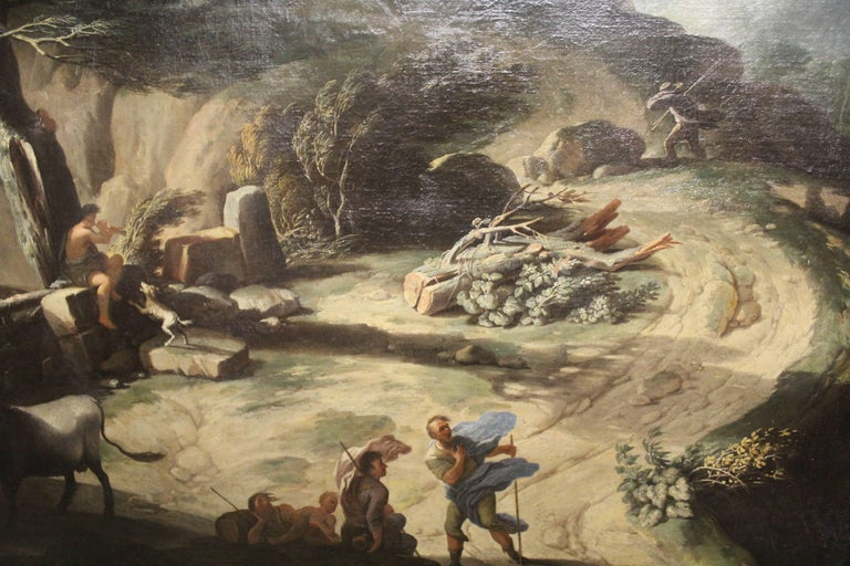 Circle of Salvator Rosa, 1615-1673, A massive oil on canvas. Wind swept mountainous landscape, figures and animals in the foreground, signed with monogram 'SR' lower left, ebonised and gilt framed. (226cm x 172cm) (248cm x 194cm including