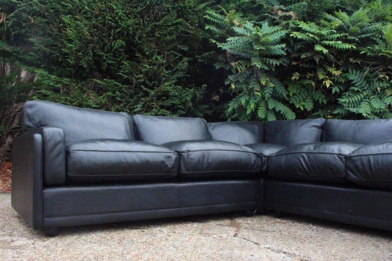 Designer Poltrona Frau Socrate Black Leather Corner Sofa For Sale - Black leather corner sofa