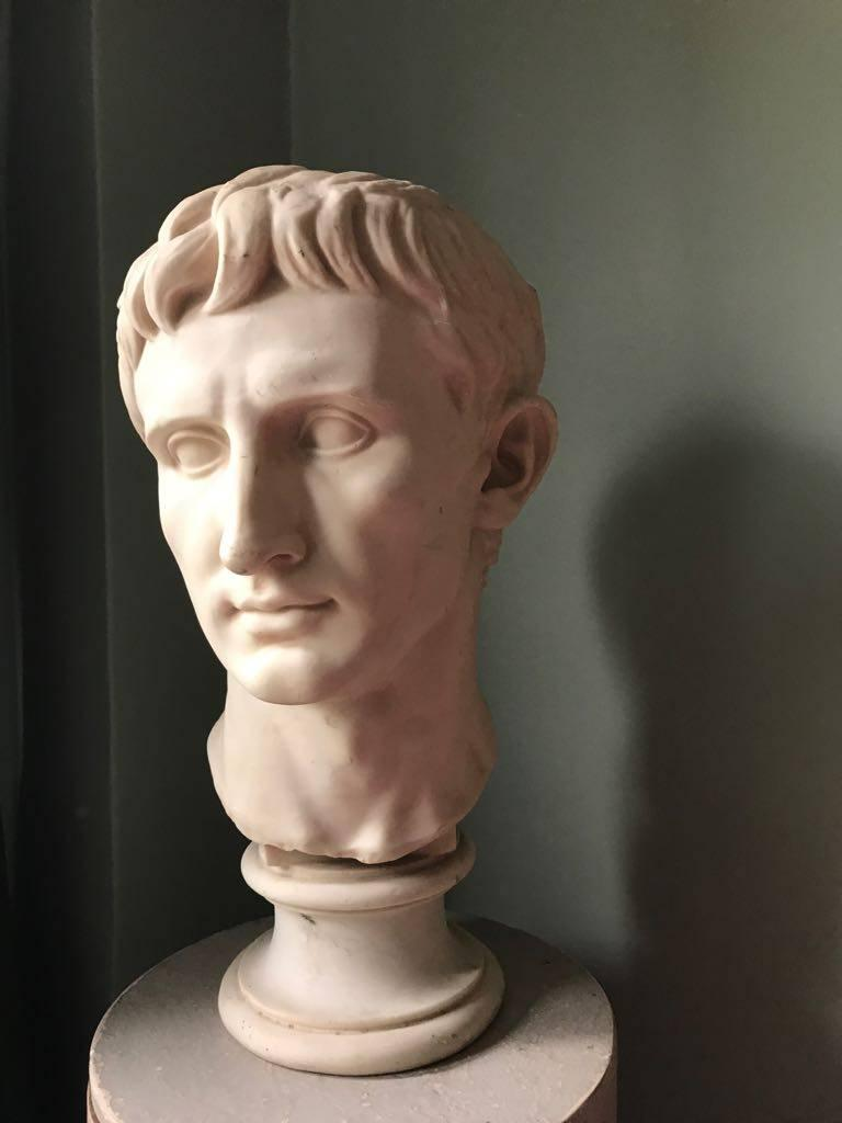 British Plaster Bust of Emperor Augustus, Made in England For Sale