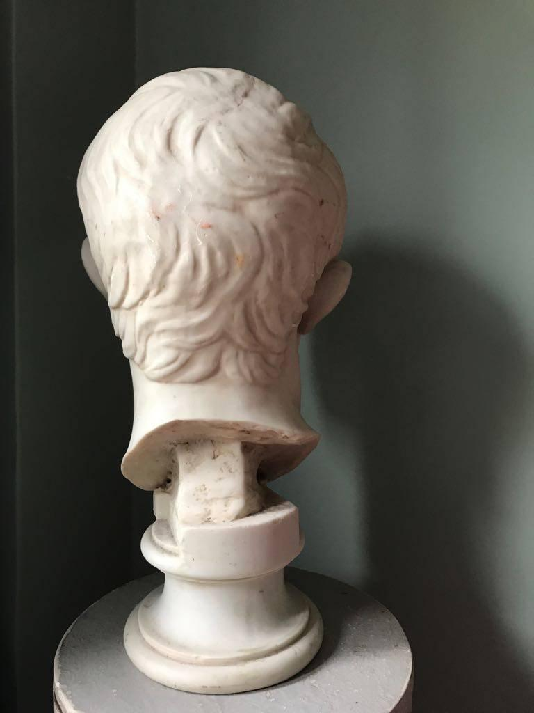 Plaster Bust of Emperor Augustus, Made in England In Excellent Condition For Sale In NEW YORK, NY