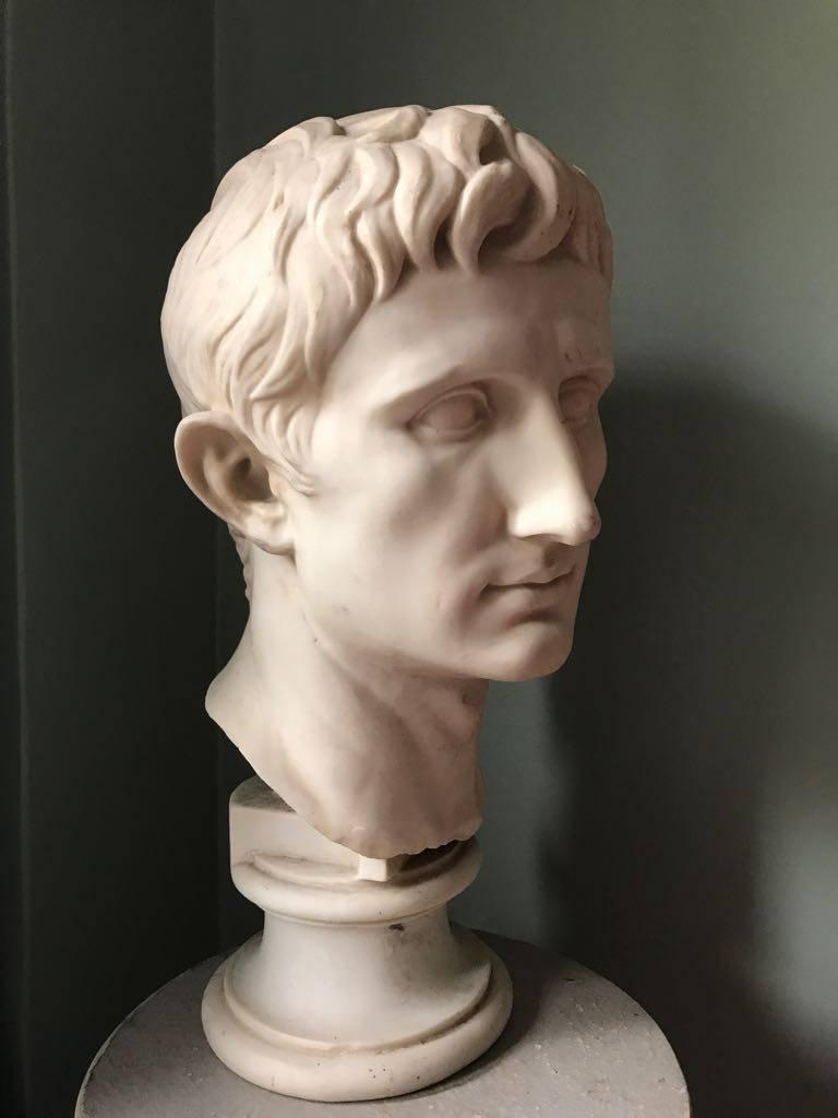 Bust of Emperor Augustus, made of plaster in England. Very decorative piece for any space classical or contemporary.