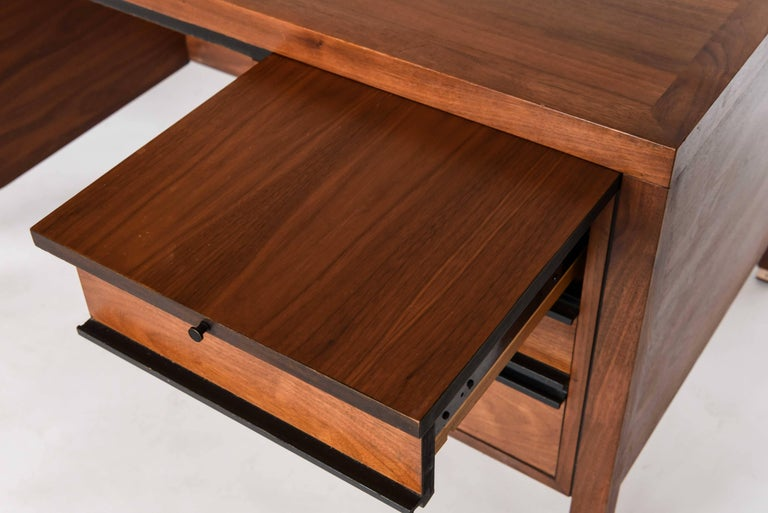This sleek midcentury desk was produced by Directional for Calvin Furniture Co. and is frequently attributed to Paul McCobb along with more pieces of this set.