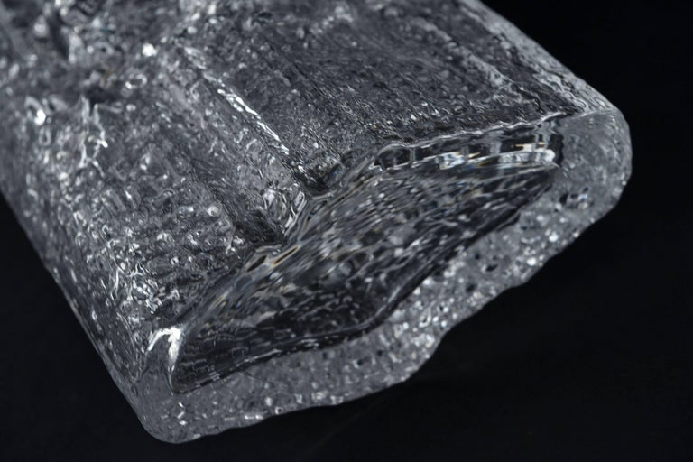 Late 20th Century Tapio Wirkkala for Iittala Ice Glass Vase For Sale