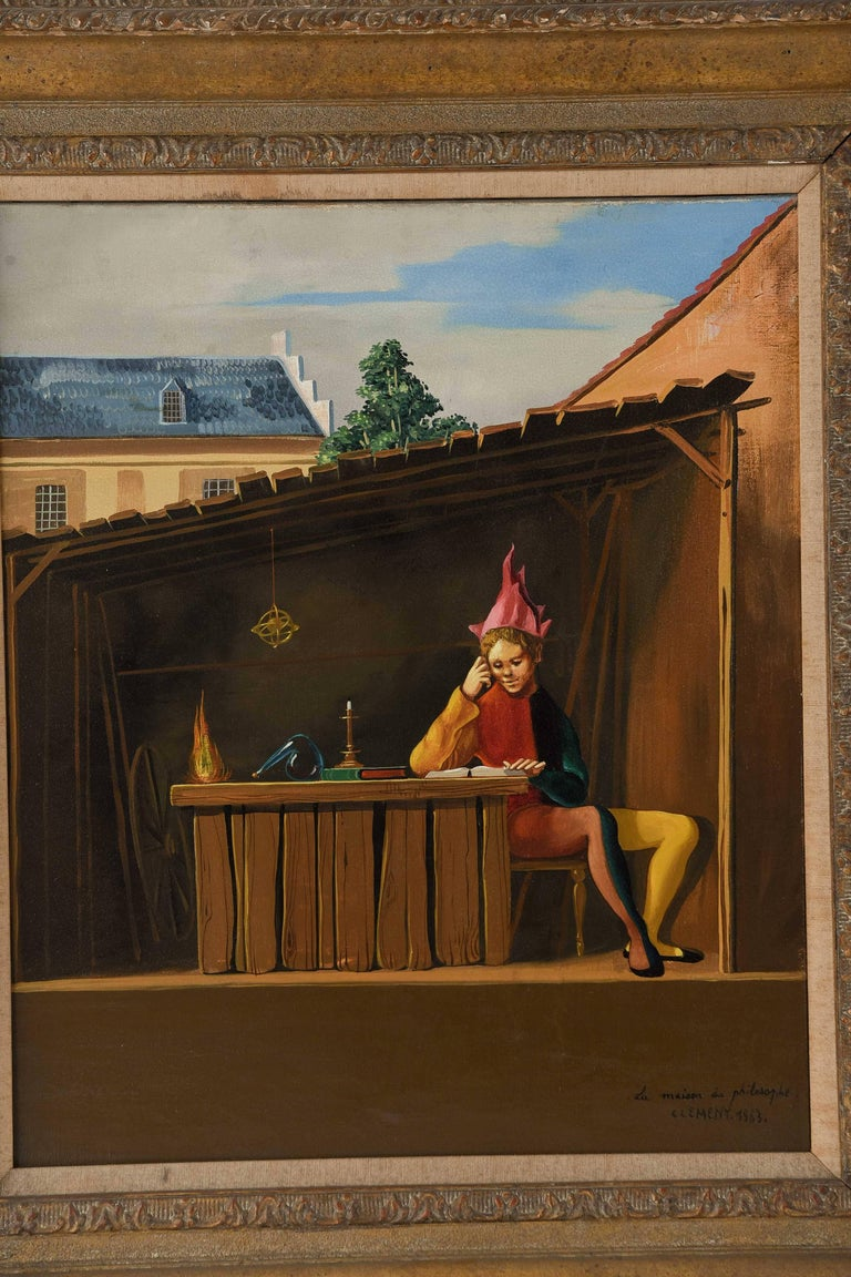 A surrealist painting by listed French artist Jean Pierre Clement depicting a male figure in jester-like clothing and a light red headdress. He appears to be reading inside a small, covered shed next to an unlit candle.  Titled