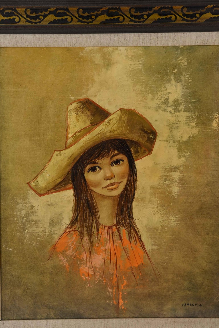 A female portrait by listed French artist Jean Pierre Clement depicting a young woman in a large hat, resembling a sombrero.  Signed Clement '61 to lower right corner.  Jean-Pierre Clement is a French painter, born 1943. He is most well-known