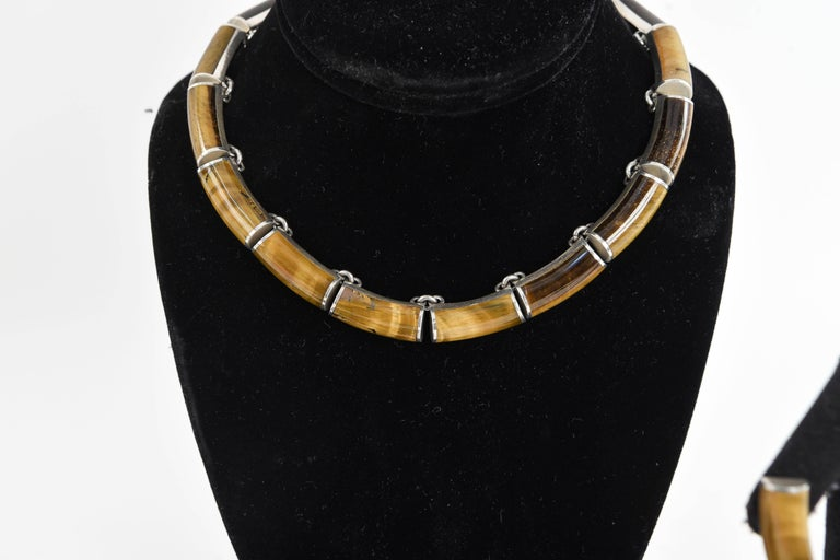 Mid-Century Modern Mexican Sterling Silver and Tigers Eye Jewelry Set For Sale