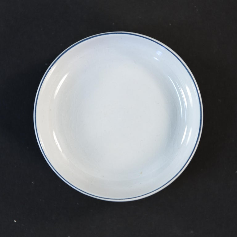 Mid-Century Modern Grethe Meyer Blue Line Faiance Aluminia Service for Eight For Sale