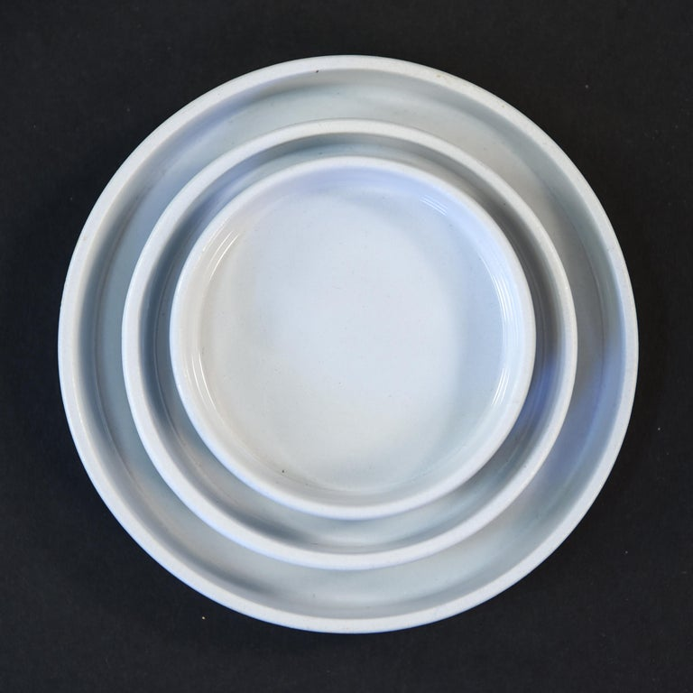 Danish Grethe Meyer Blue Line Faiance Aluminia Service for Eight For Sale