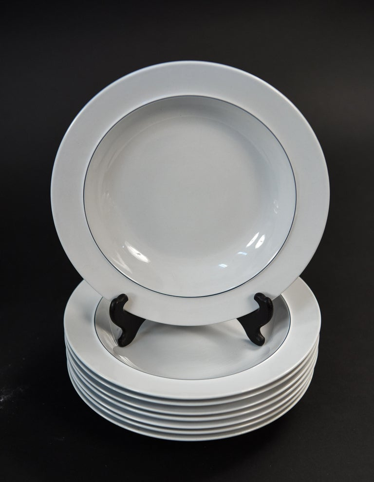 Grethe Meyer Blue Line Faiance Aluminia Service for Eight For Sale 11