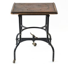 Industrial Rolling Typewriter Stand or Side Table