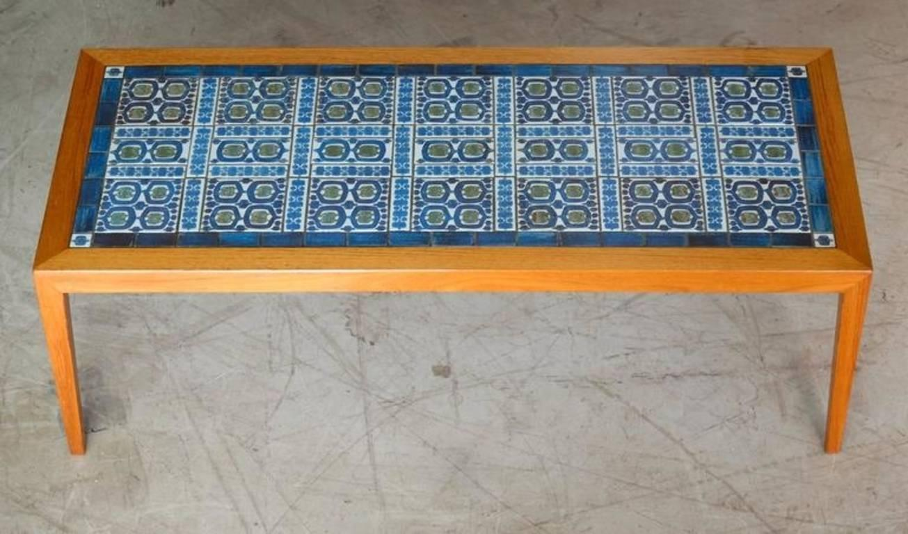 Mid Century Modern Teak Coffee Table, Severin Hansen Jr. For Haslev With  Tiles