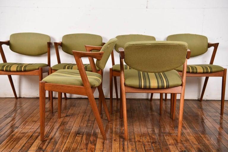 Mid-20th Century Set of Six Kai Kristiansen Model 42 Z Teak Dining Chairs For Sale