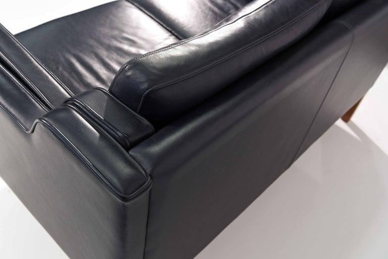 Borge Mogensen Style Loveseat Sofa In Dark Sapphire