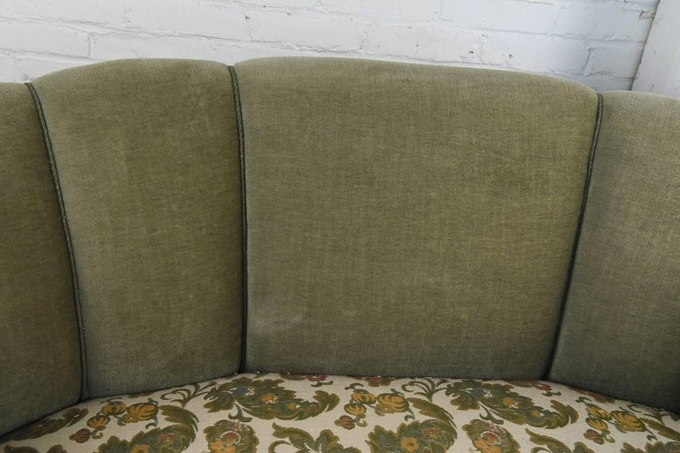 Mohair Danish 1940s Two-Seat Art Deco Banana Form Sofa by Slagelse For Sale