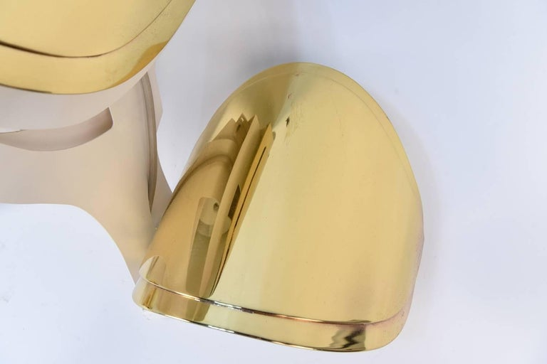 20th Century Warren Platner Custom Brass Triple Corner Sconce For Sale
