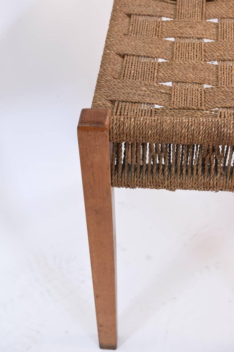 Pair of Danish Midcentury Fritz Hansen Papercord and Beech Stools For Sale 1