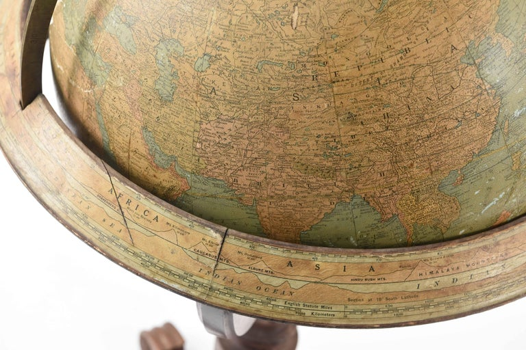 Rand Mcnally And Co Terrestrial Globe On Stand Circa
