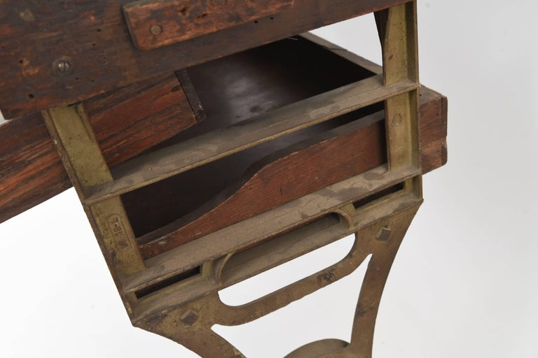 Antique Iron And Wood Industrial Workbench At 1stdibs
