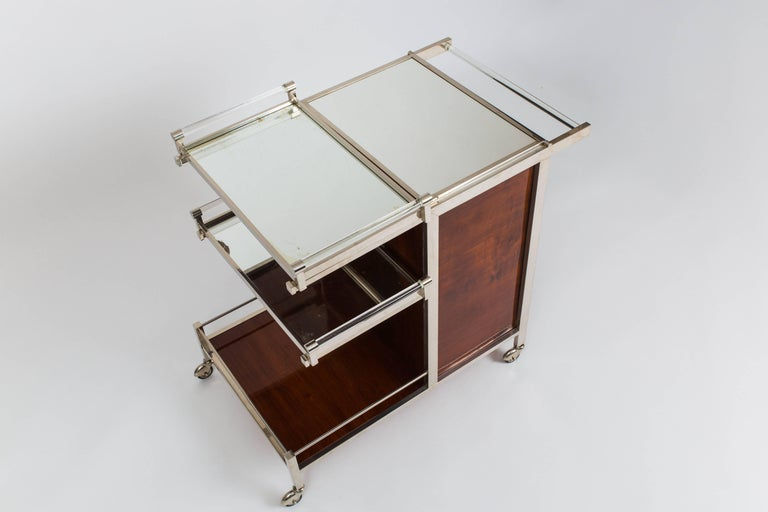 Plated Jacques Adnet Bar Cart For Sale