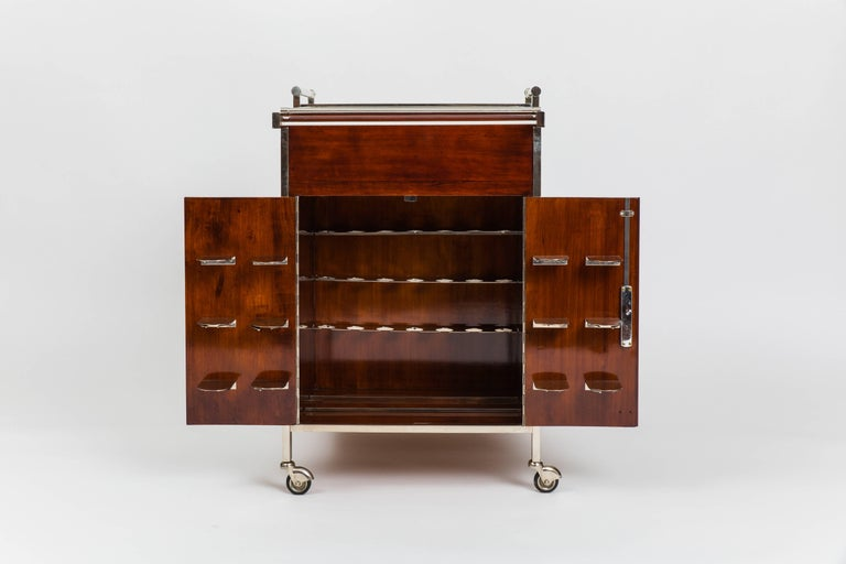 Palisander Jacques Adnet Bar Cart For Sale