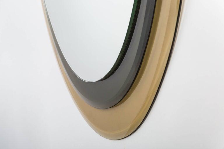 Mid-Century Modern Max Ingrand for Fontana Arte Oval Glass Framed Mirror, Model 2046, Italy, 1960s For Sale