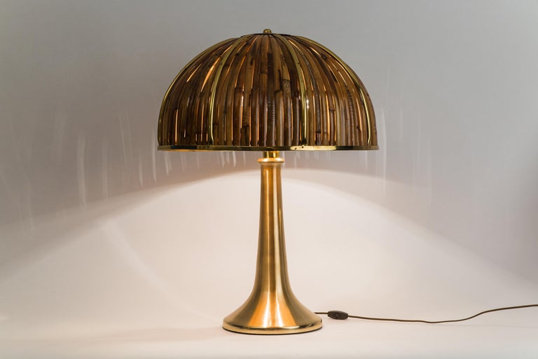 Brass Gabriella Crespi Large 'Fungo' Table Lamp from Rising Sun Series, Italy, 1970s For Sale