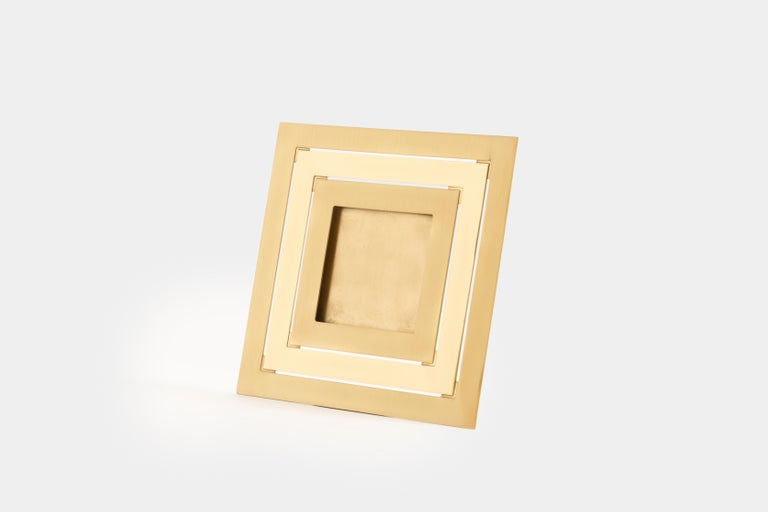 Gabriella Crespi square picture frame with alternating bands of brushed and polished brass, Italy, 1973. Signed to reverse