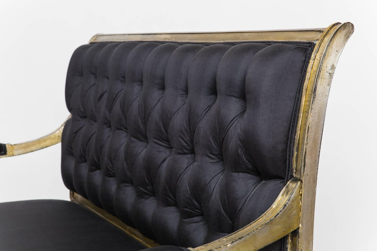 Mid-20th Century Maison Jansen Signed Silver Leaf Settee For Sale
