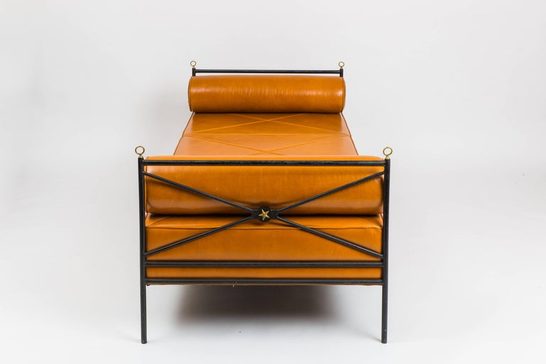 Mid-Century Modern Leather and Wrought Iron Daybed Attributed to André Arbus For Sale