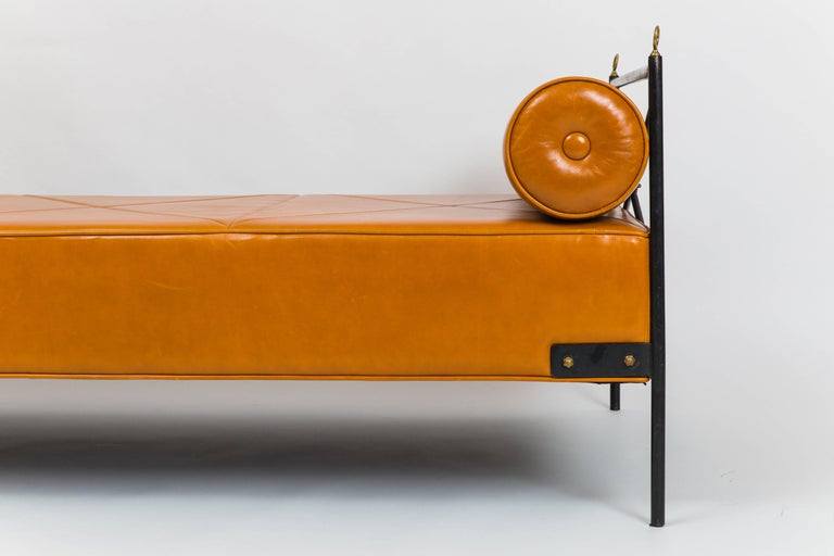 French Leather and Wrought Iron Daybed Attributed to André Arbus For Sale
