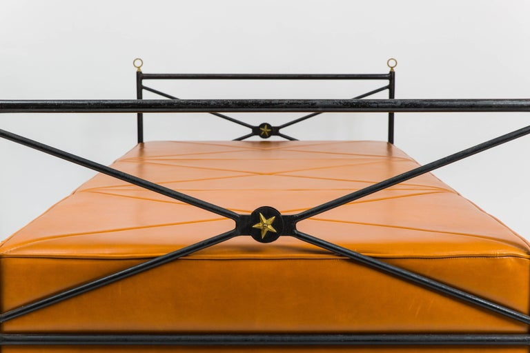Mid-20th Century Leather and Wrought Iron Daybed Attributed to André Arbus For Sale