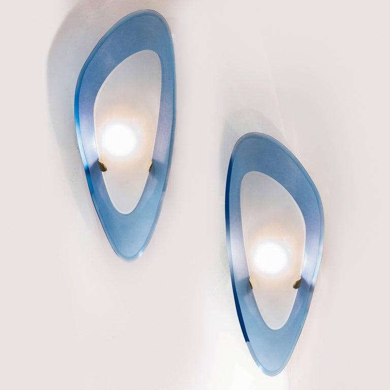 Max Ingrand for Fontana Arte Pair of Rare Glass Sconces, Italy, 1950s 2