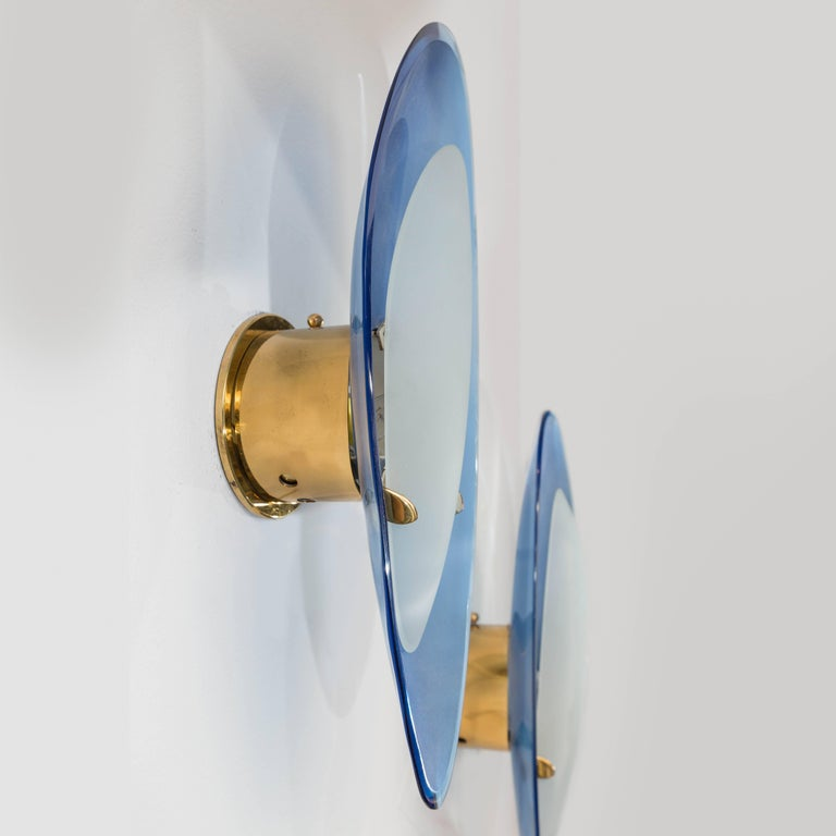 Max Ingrand for Fontana Arte Pair of Rare Glass Sconces, Italy, 1950s 4