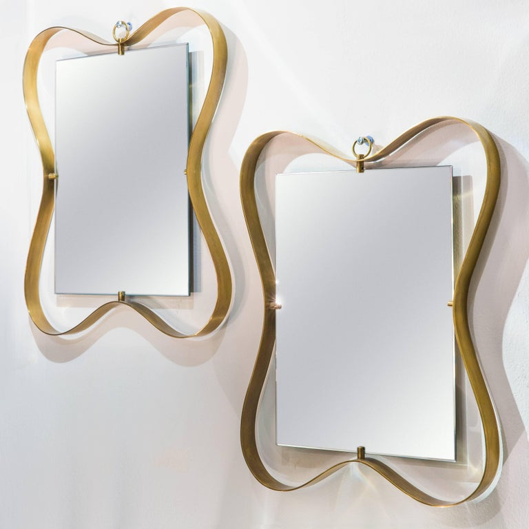Mid-Century Modern Fontana Arte Pair of Small Mirrors For Sale