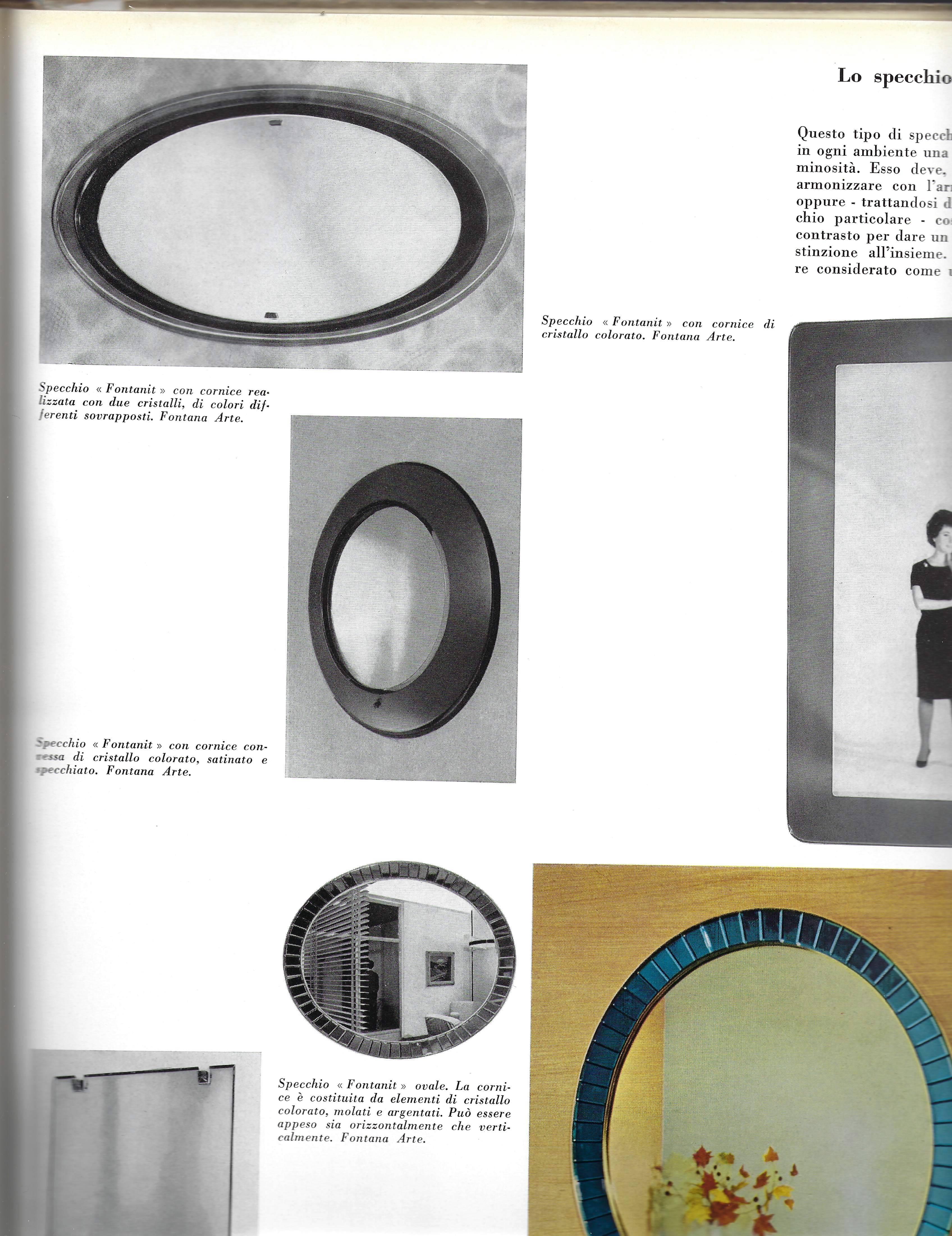 Cornice Sia Home Fashion.Max Ingrand For Fontana Arte Oval Glass Framed Mirror Model 2046