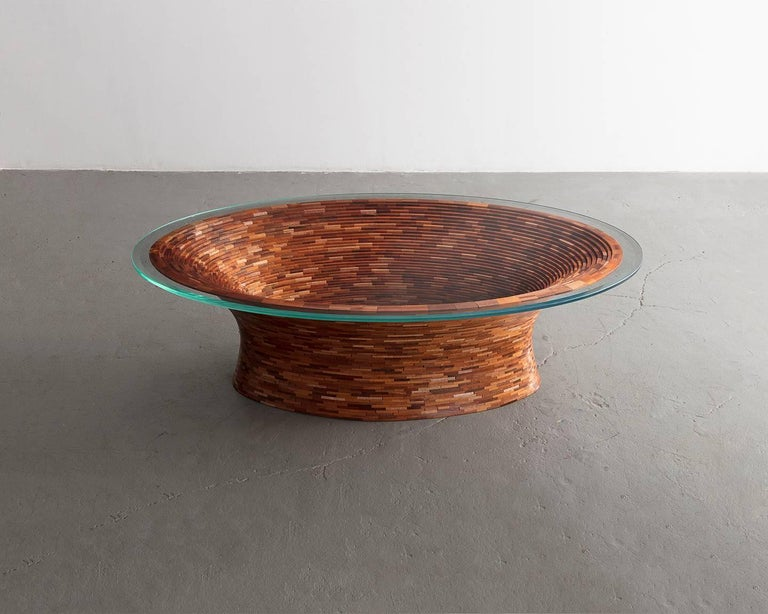 Ceramic STACKED Oval Spalted Maple Coffee Table by Richard Haining, Available Now For Sale