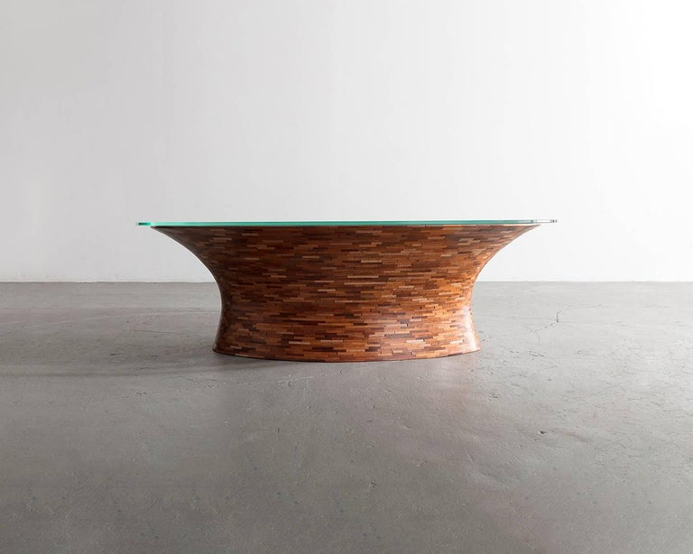 STACKED Oval Spalted Maple Coffee Table by Richard Haining, Available Now For Sale 1