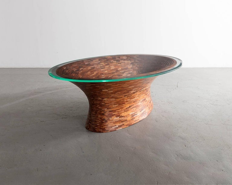 STACKED Oval Spalted Maple Coffee Table by Richard Haining, Available Now For Sale 2