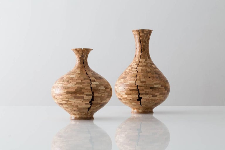 Modern Contemporary American Wooden Oak Vase, Cracked, Handmade, Sculpture, in Stock For Sale