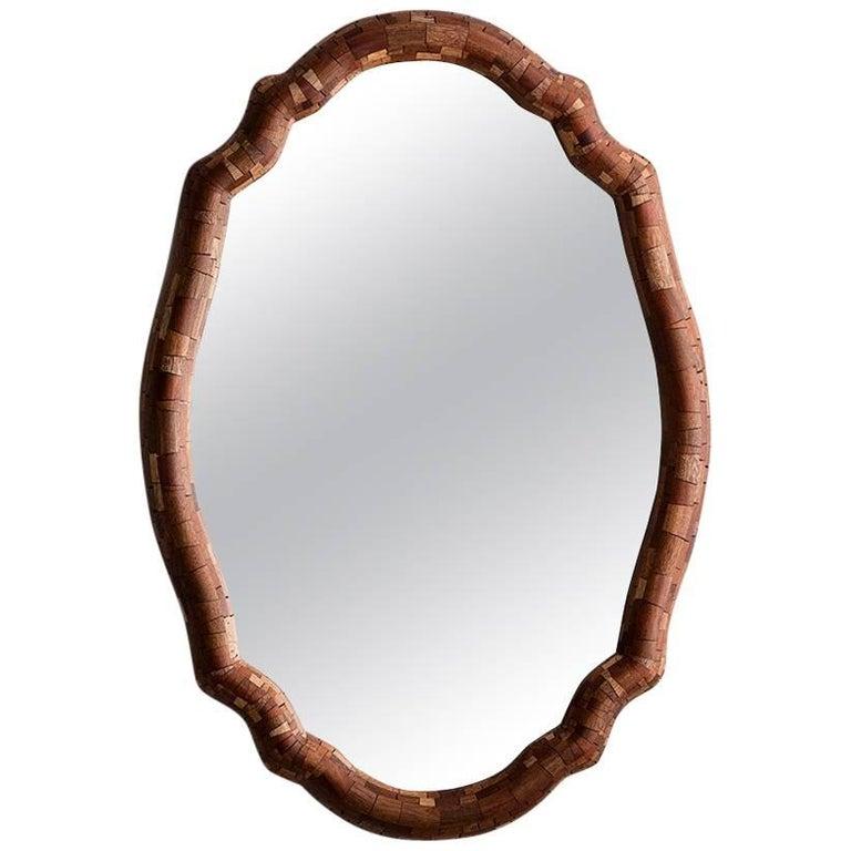 Contemporary American Scalloped Wall Mirror, Shown in Mahogany, Handmade, Custom