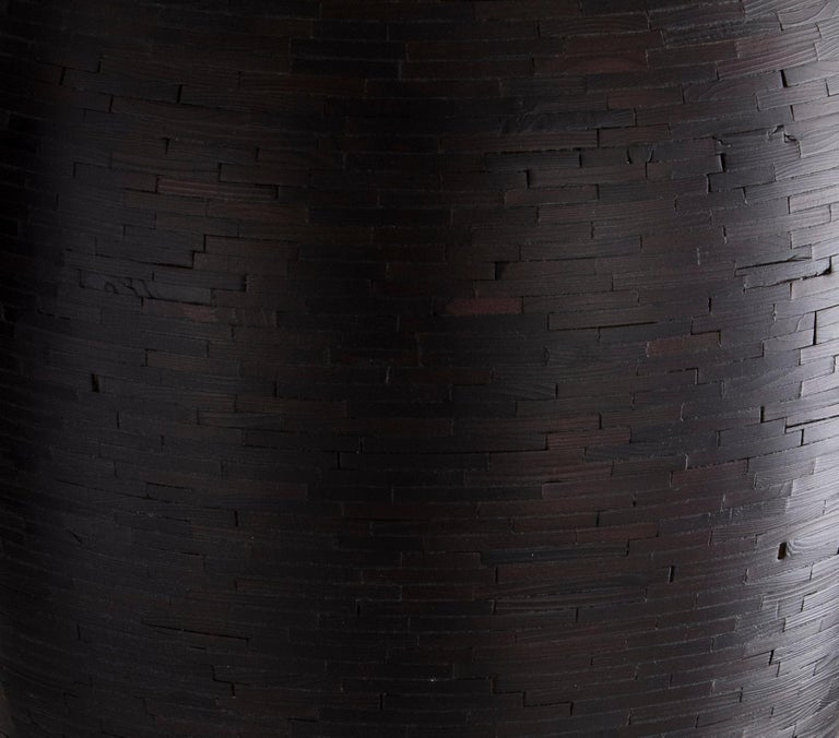 Carved Contemporary American Shou Sugi Ban Wooden Vase, Alaskan Cedar, In Stock For Sale