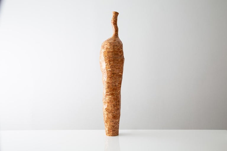 Hand-Carved Contemporary American Wooden Faceted Vase, Cherry, Sculpture, Carved, in Stock For Sale