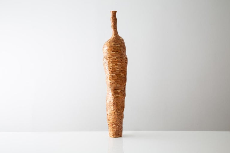 Modern Contemporary American Wooden Faceted Vase, Cherry, Sculpture, Carved, in Stock For Sale