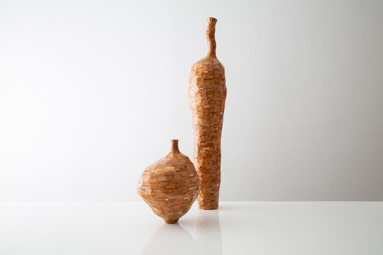 Ceramic Contemporary American Wooden Faceted Vase, Cherry, Sculpture, Carved, in Stock For Sale
