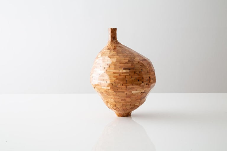 Modern Contemporary American Wooden Faceted Vase, Cherry, Small Sculpture, in Stock For Sale